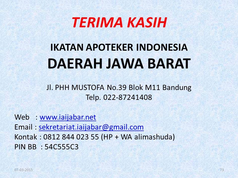 TERIMA KASIH IKATAN APOTEKER INDONESIA DAERAH JAWA BARAT Jl.