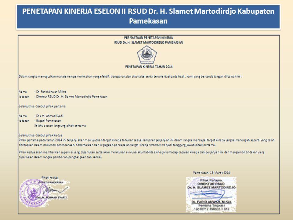 PENETAPAN KINERJA ESELON II RSUD Dr. H. Slamet Martodirdjo Kabupaten Pamekasan