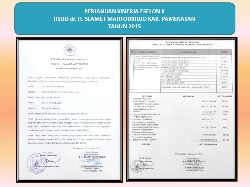 PERJANJIAN KINERJA ESELON II RSUD dr. H. SLAMET MARTODIRDJO KAB. PAMEKASAN TAHUN 2015