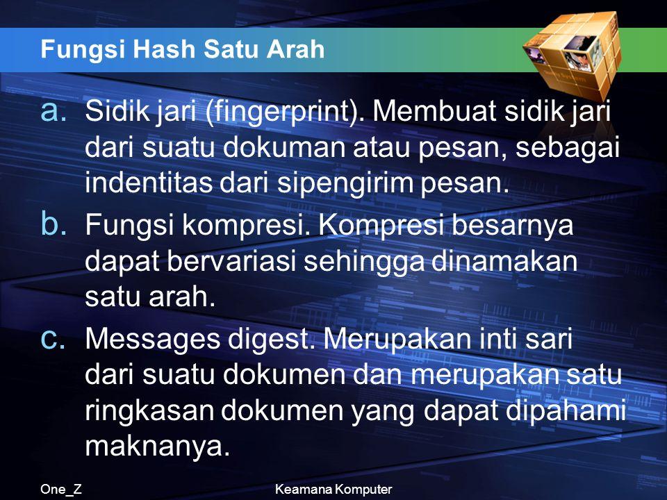One_ZKeamana Komputer Fungsi Hash Satu Arah a. Sidik jari (fingerprint).