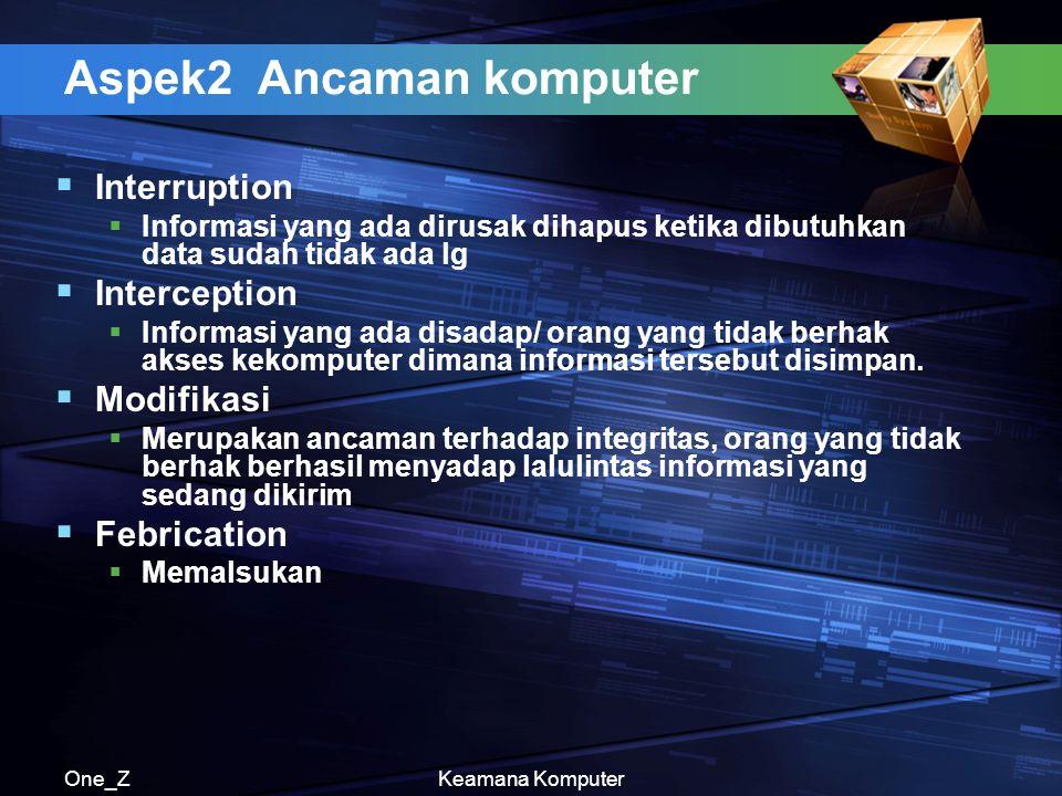 One_ZKeamana Komputer Aspek2 Ancaman komputer  Interruption  Informasi yang ada dirusak dihapus ketika dibutuhkan data sudah tidak ada lg  Interception  Informasi yang ada disadap/ orang yang tidak berhak akses kekomputer dimana informasi tersebut disimpan.