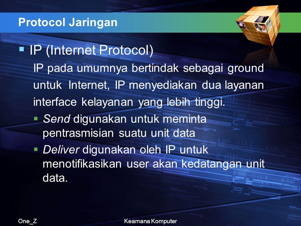 One_ZKeamana Komputer Protocol Jaringan  IP (Internet Protocol) IP pada umumnya bertindak sebagai ground untuk Internet, IP menyediakan dua layanan interface kelayanan yang lebih tinggi.