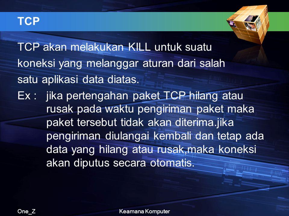 One_ZKeamana Komputer TCP TCP akan melakukan KILL untuk suatu koneksi yang melanggar aturan dari salah satu aplikasi data diatas. Ex : jika pertengaha