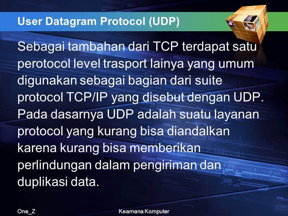 One_ZKeamana Komputer User Datagram Protocol (UDP) Sebagai tambahan dari TCP terdapat satu perotocol level trasport lainya yang umum digunakan sebagai bagian dari suite protocol TCP/IP yang disebut dengan UDP.