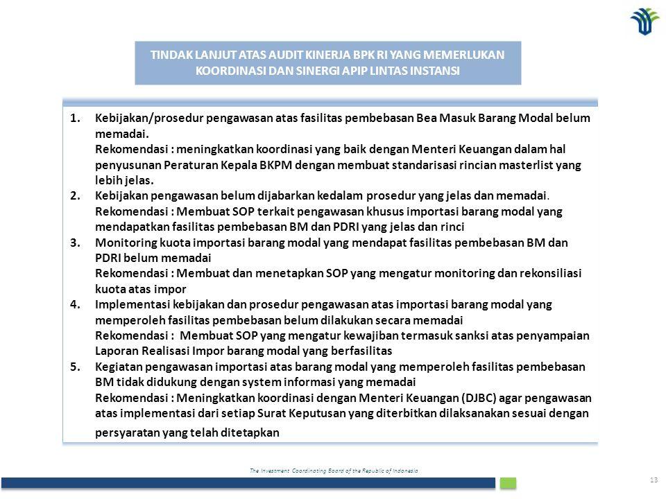 The Investment Coordinating Board of the Republic of Indonesia 13 TINDAK LANJUT ATAS AUDIT KINERJA BPK RI YANG MEMERLUKAN KOORDINASI DAN SINERGI APIP LINTAS INSTANSI 1.Kebijakan/prosedur pengawasan atas fasilitas pembebasan Bea Masuk Barang Modal belum memadai.