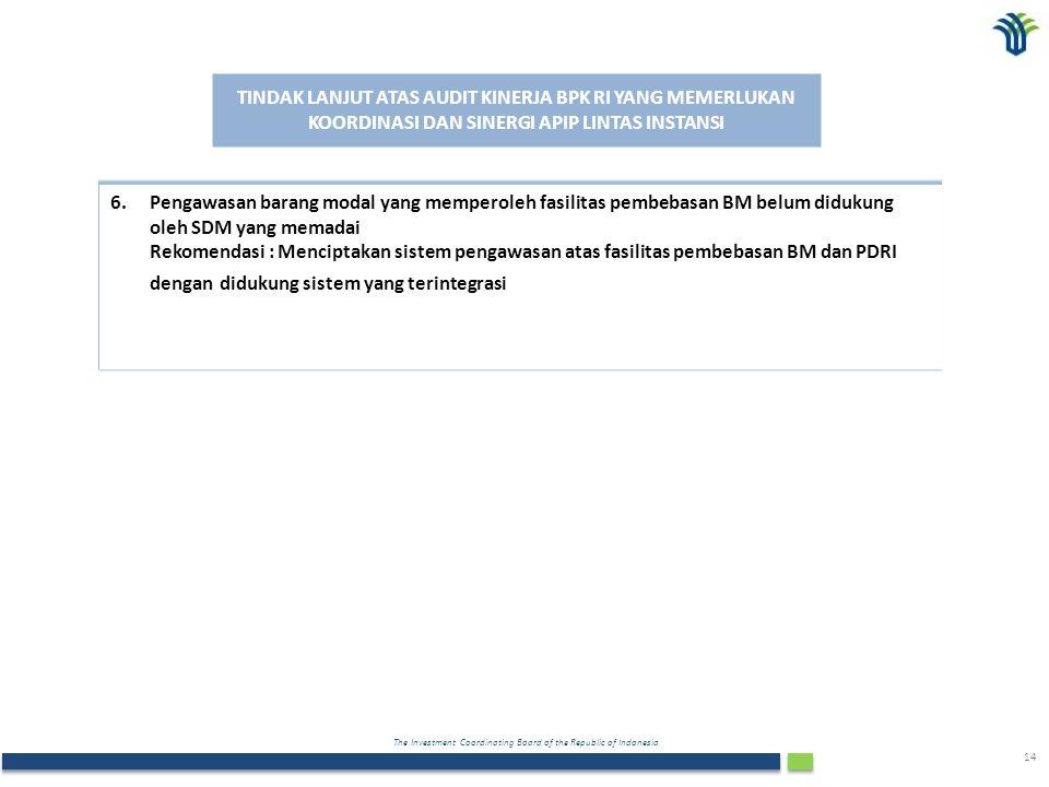 The Investment Coordinating Board of the Republic of Indonesia 14 TINDAK LANJUT ATAS AUDIT KINERJA BPK RI YANG MEMERLUKAN KOORDINASI DAN SINERGI APIP LINTAS INSTANSI 6.Pengawasan barang modal yang memperoleh fasilitas pembebasan BM belum didukung oleh SDM yang memadai Rekomendasi : Menciptakan sistem pengawasan atas fasilitas pembebasan BM dan PDRI dengan didukung sistem yang terintegrasi