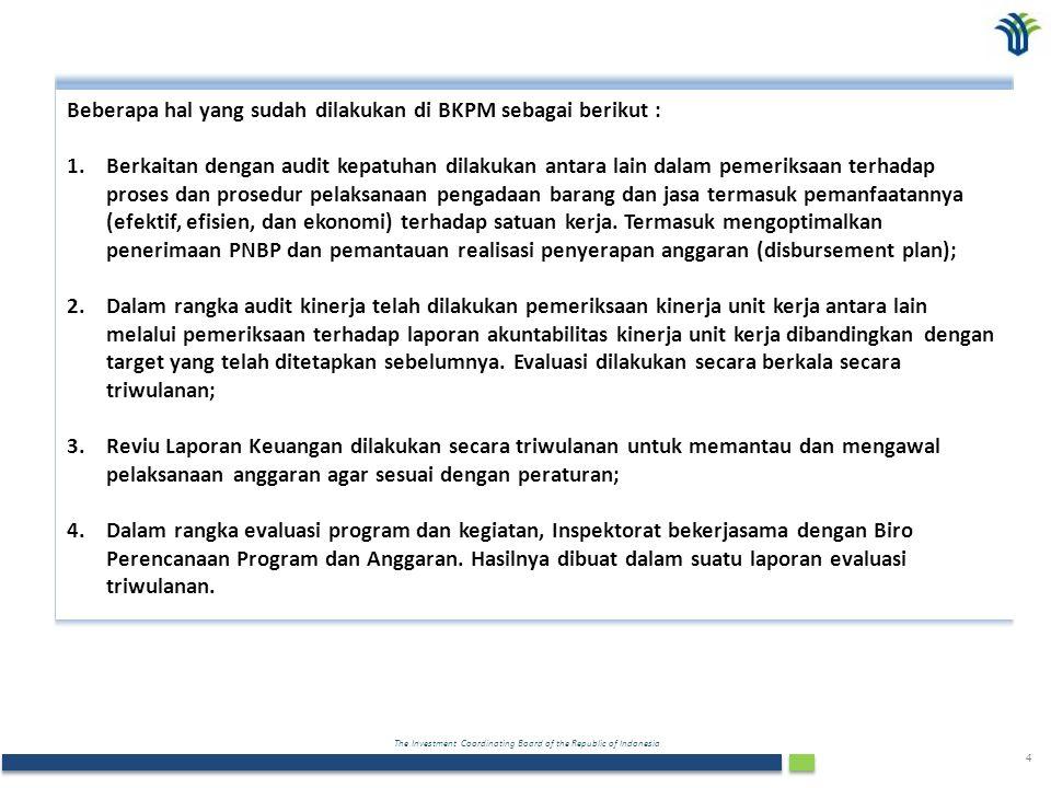 The Investment Coordinating Board of the Republic of Indonesia 4 Beberapa hal yang sudah dilakukan di BKPM sebagai berikut : 1.Berkaitan dengan audit kepatuhan dilakukan antara lain dalam pemeriksaan terhadap proses dan prosedur pelaksanaan pengadaan barang dan jasa termasuk pemanfaatannya (efektif, efisien, dan ekonomi) terhadap satuan kerja.