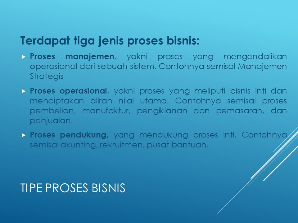 TIPE PROSES BISNIS Terdapat tiga jenis proses bisnis:  Proses manajemen, yakni proses yang mengendalikan operasional dari sebuah sistem. Contohnya se