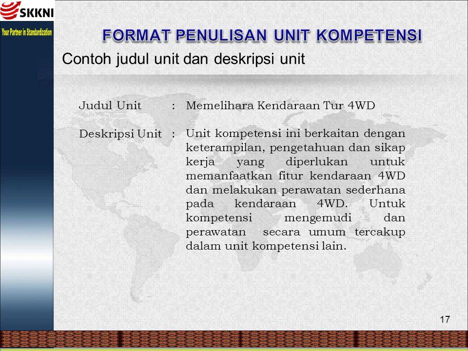 17 Contoh judul unit dan deskripsi unit Judul Unit Deskripsi Unit :::: Memelihara Kendaraan Tur 4WD Unit kompetensi ini berkaitan dengan keterampilan,