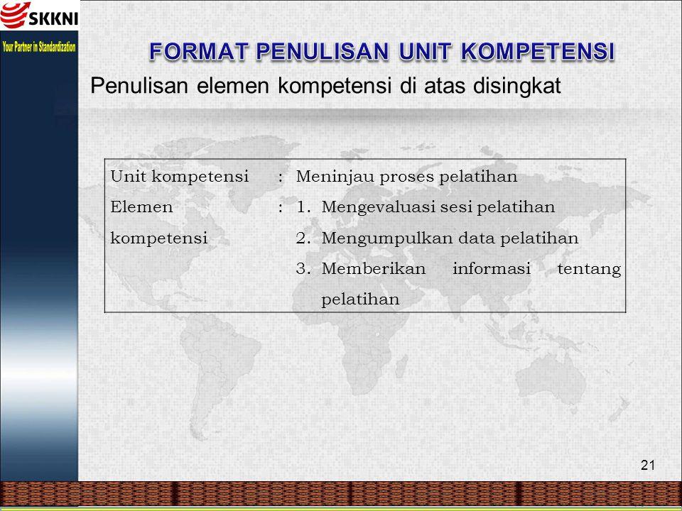 21 Penulisan elemen kompetensi di atas disingkat Unit kompetensi:Meninjau proses pelatihan Elemen kompetensi :1.Mengevaluasi sesi pelatihan 2.Mengumpulkan data pelatihan 3.Memberikan informasi tentang pelatihan