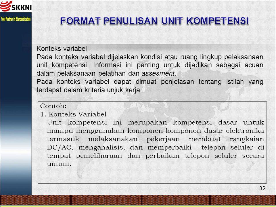 32 Konteks variabel Pada konteks variabel dijelaskan kondisi atau ruang lingkup pelaksanaan unit kompetensi. Informasi ini penting untuk dijadikan seb
