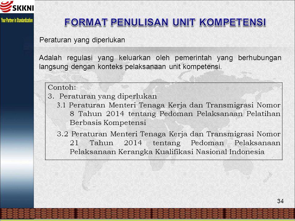 34 Peraturan yang diperlukan Adalah regulasi yang keluarkan oleh pemerintah yang berhubungan langsung dengan konteks pelaksanaan unit kompetensi. Cont