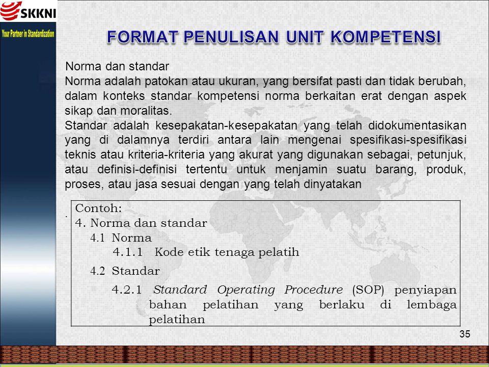 35 Norma dan standar Norma adalah patokan atau ukuran, yang bersifat pasti dan tidak berubah, dalam konteks standar kompetensi norma berkaitan erat dengan aspek sikap dan moralitas.