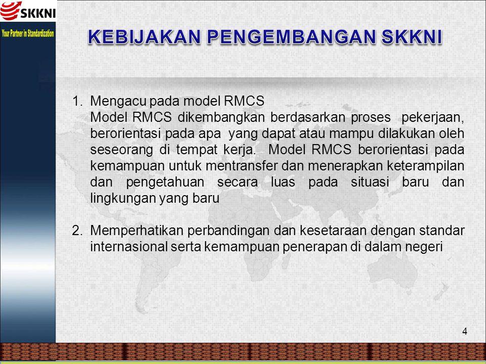 4 1.Mengacu pada model RMCS Model RMCS dikembangkan berdasarkan proses pekerjaan, berorientasi pada apa yang dapat atau mampu dilakukan oleh seseorang di tempat kerja.