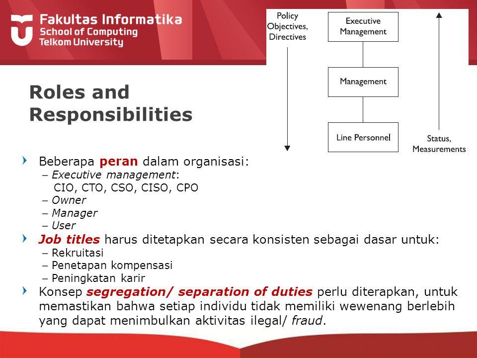 12-CRS-0106 REVISED 8 FEB 2013 Roles and Responsibilities Beberapa peran dalam organisasi: –Executive management: CIO, CTO, CSO, CISO, CPO –Owner –Man