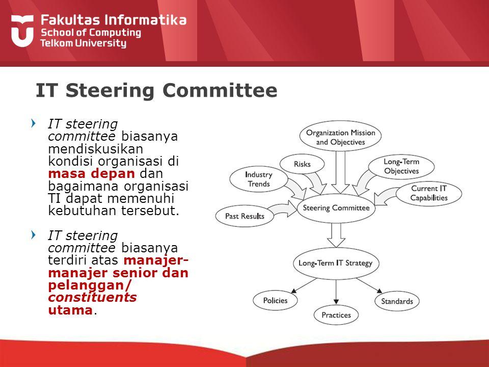 12-CRS-0106 REVISED 8 FEB 2013 IT Steering Committee IT steering committee biasanya mendiskusikan kondisi organisasi di masa depan dan bagaimana organisasi TI dapat memenuhi kebutuhan tersebut.