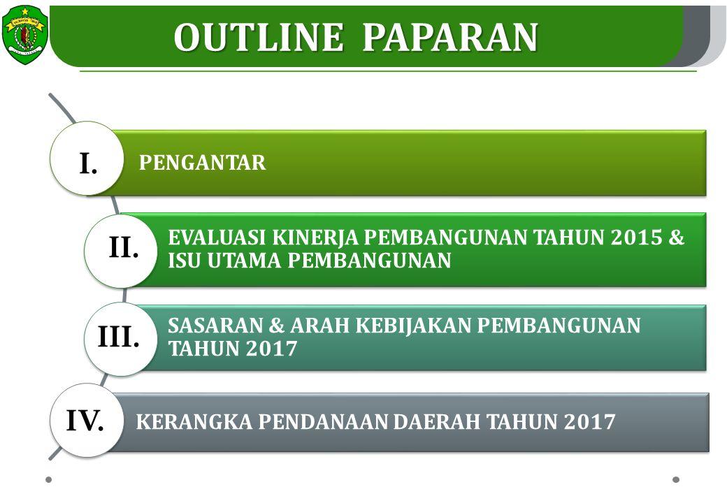OUTLINE PAPARAN 2 PENGANTAR EVALUASI KINERJA PEMBANGUNAN TAHUN 2015 & ISU UTAMA PEMBANGUNAN SASARAN & ARAH KEBIJAKAN PEMBANGUNAN TAHUN 2017 KERANGKA PENDANAAN DAERAH TAHUN 2017 I.