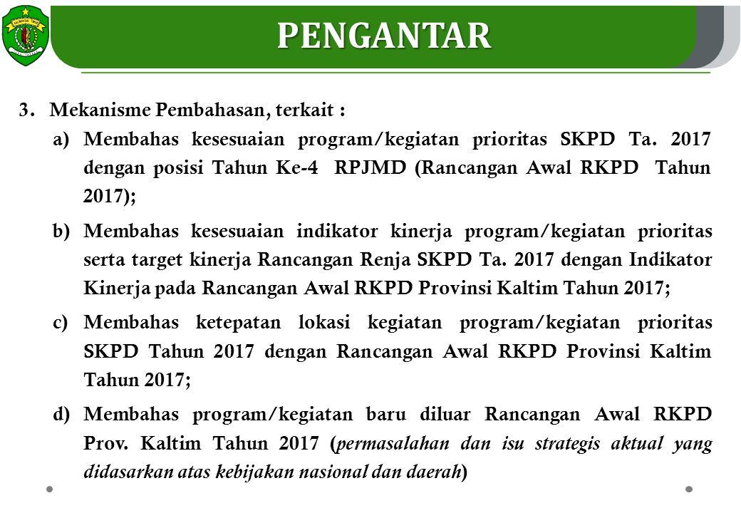 4.Disebabkan kemampuan fiskal Tahun 2017 yang semakin menurun, maka dalam menyusun RENJA nya SKPD diminta untuk : a)Menerapkan prinsip money follow priority (pembiayaan untuk kegiatan prioritas); b)Fokus pada kegiatan sesuai Tema RKPD Tahun 2017; c)Fokus pada kegiatan untuk pencapaian 19 Sasaran Prioritas RPJMD Prov.