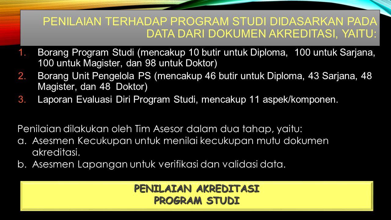 PENILAIAN TERHADAP PROGRAM STUDI DIDASARKAN PADA DATA DARI DOKUMEN AKREDITASI, YAITU: PENILAIAN AKREDITASI PROGRAM STUDI 1.Borang Program Studi (mencakup 10 butir untuk Diploma, 100 untuk Sarjana, 100 untuk Magister, dan 98 untuk Doktor) 2.Borang Unit Pengelola PS (mencakup 46 butir untuk Diploma, 43 Sarjana, 48 Magister, dan 48 Doktor) 3.Laporan Evaluasi Diri Program Studi, mencakup 11 aspek/komponen.