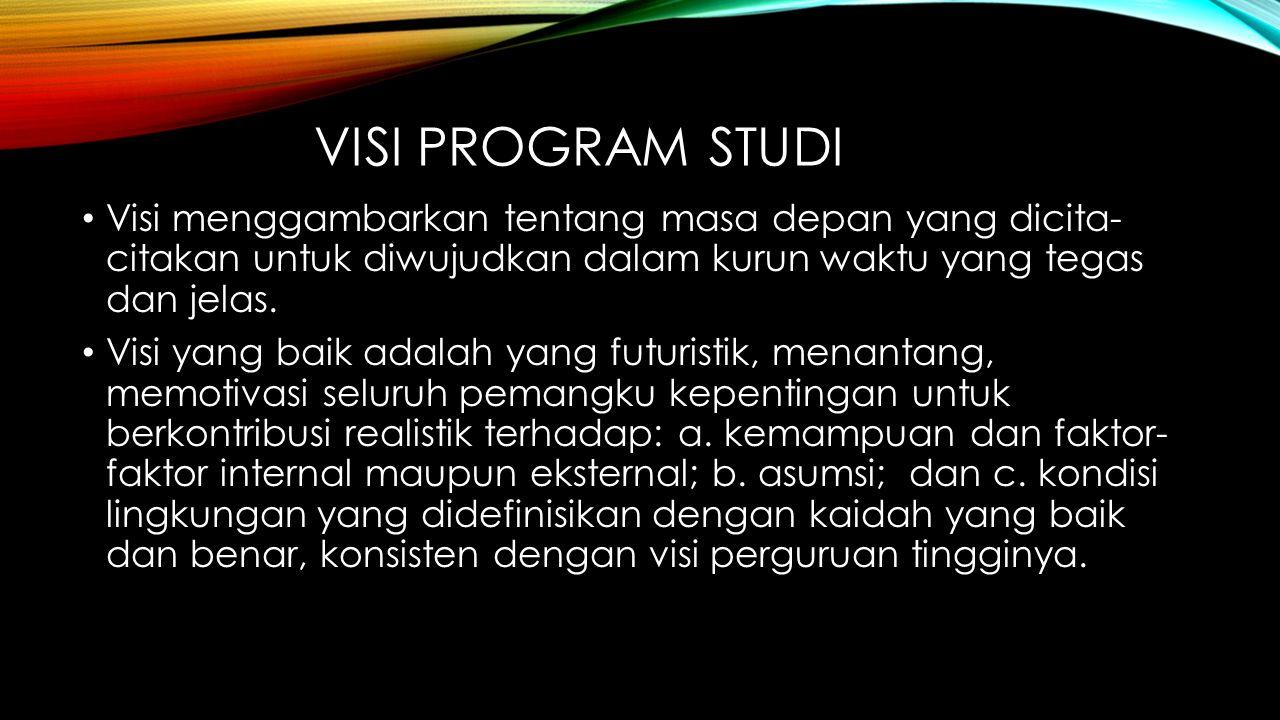 VISI PROGRAM STUDI Visi menggambarkan tentang masa depan yang dicita- citakan untuk diwujudkan dalam kurun waktu yang tegas dan jelas.