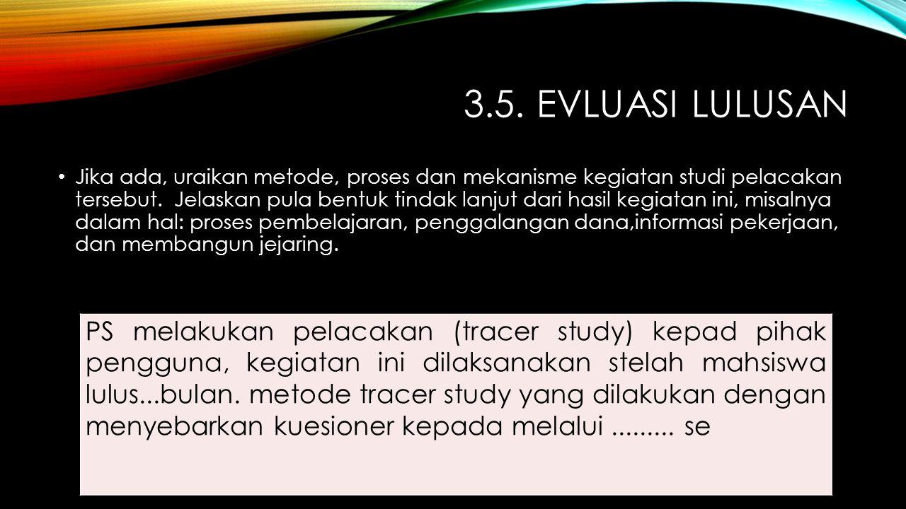 3.5. EVLUASI LULUSAN Jika ada, uraikan metode, proses dan mekanisme kegiatan studi pelacakan tersebut. Jelaskan pula bentuk tindak lanjut dari hasil k