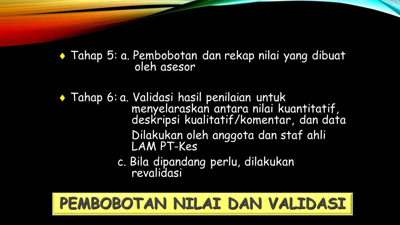  Tahap 5: a. Pembobotan dan rekap nilai yang dibuat oleh asesor  Tahap 6:a.