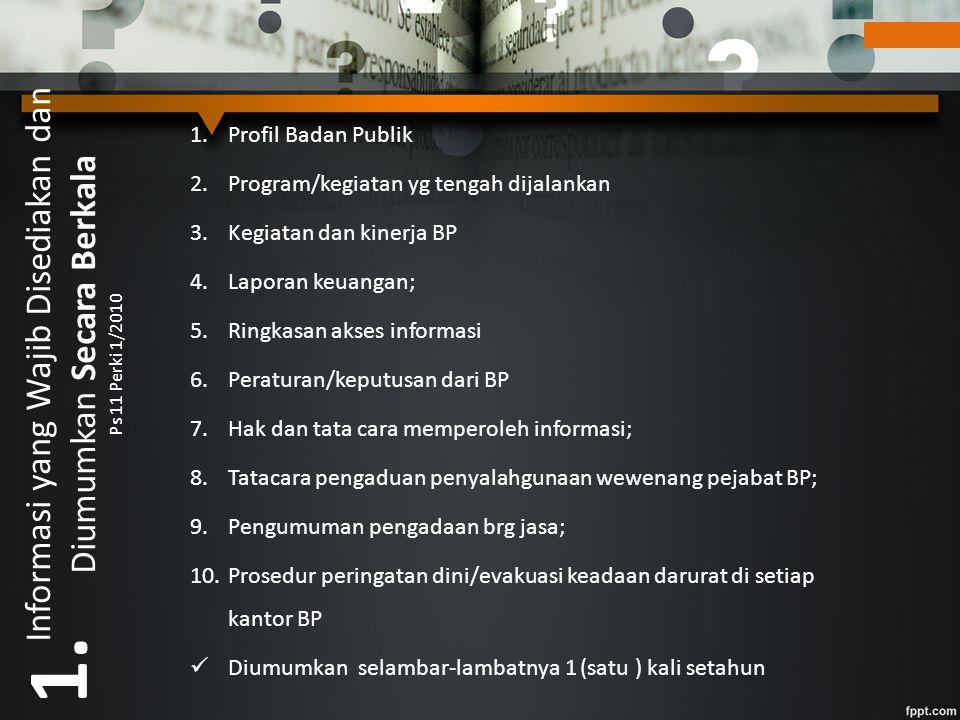Informasi yang Wajib Disediakan dan Diumumkan Secara Berkala Ps 11 Perki 1/2010 1.