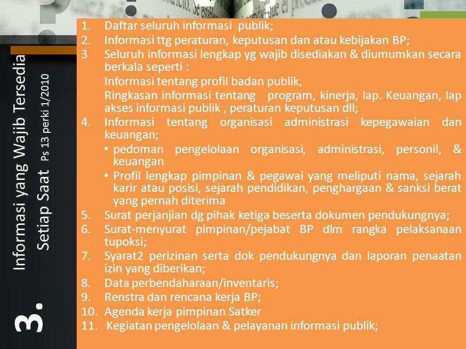 Informasi yang Wajib Tersedia Setiap Saat Ps 13 perki 1/2010 3.
