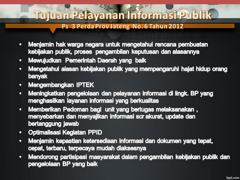 Komisi Informasi Lembaga mandiri yang berfungsi menjalankan Undang-Undang KIP dan peraturan pelaksanaannya, menetapkan petunjuk teknis standar layanan informasi publik dan menyelesaikan sengketa informasi publik melalui mediasi dan/atau ajudikasi nonlitigasi.