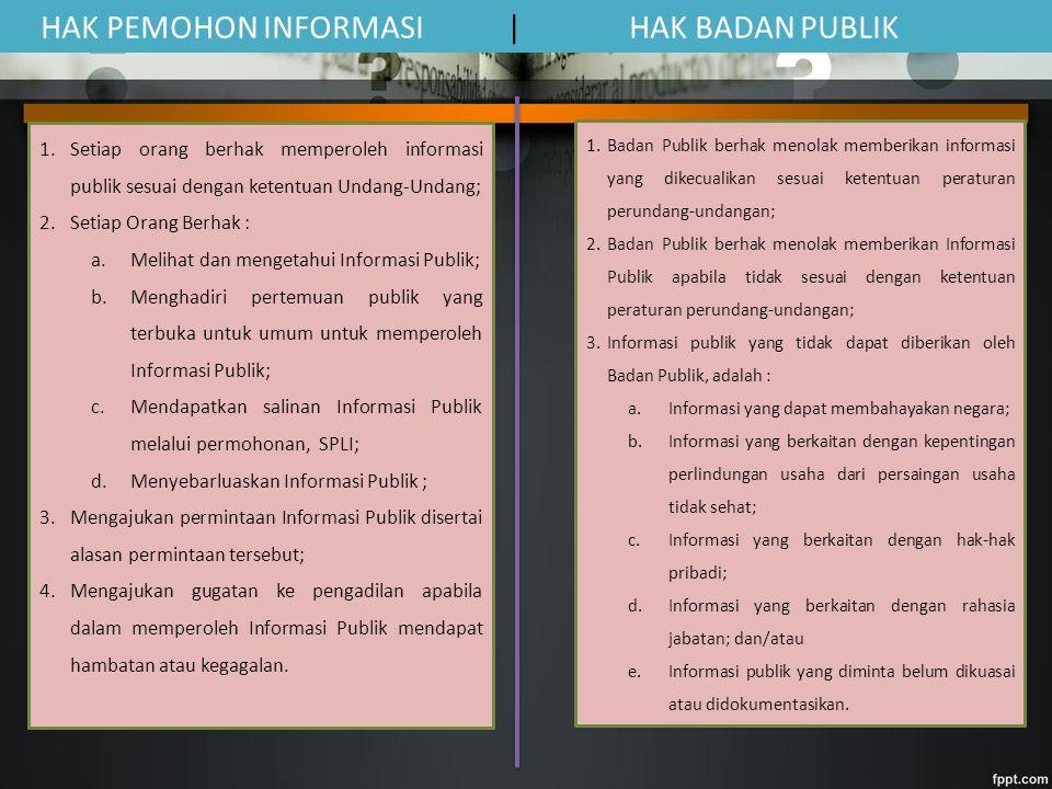 HAK PEMOHON INFORMASI | HAK BADAN PUBLIK 1.Setiap orang berhak memperoleh informasi publik sesuai dengan ketentuan Undang-Undang; 2.Setiap Orang Berhak : a.Melihat dan mengetahui Informasi Publik; b.Menghadiri pertemuan publik yang terbuka untuk umum untuk memperoleh Informasi Publik; c.Mendapatkan salinan Informasi Publik melalui permohonan, SPLI; d.Menyebarluaskan Informasi Publik ; 3.