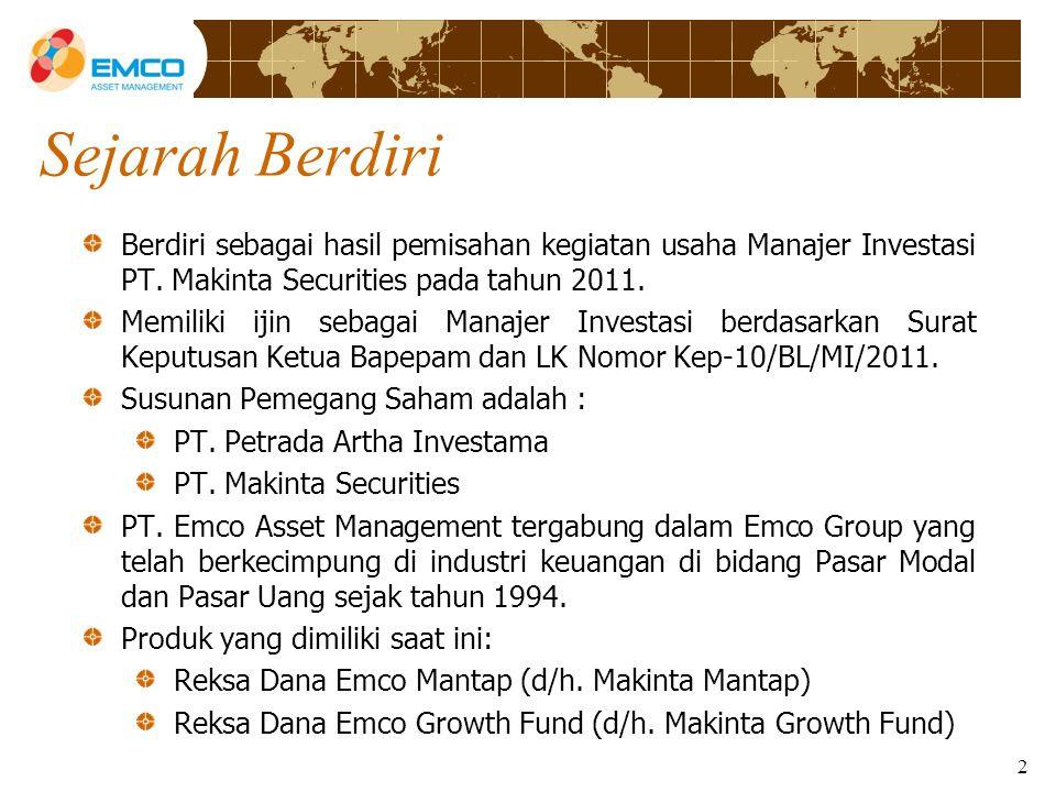 2 Sejarah Berdiri Berdiri sebagai hasil pemisahan kegiatan usaha Manajer Investasi PT.
