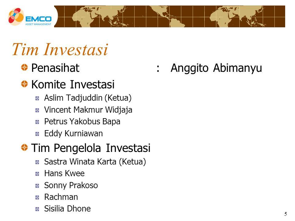 Tim Investasi Penasihat : Anggito Abimanyu Komite Investasi Aslim Tadjuddin (Ketua) Vincent Makmur Widjaja Petrus Yakobus Bapa Eddy Kurniawan Tim Pengelola Investasi Sastra Winata Karta (Ketua) Hans Kwee Sonny Prakoso Rachman Sisilia Dhone 5