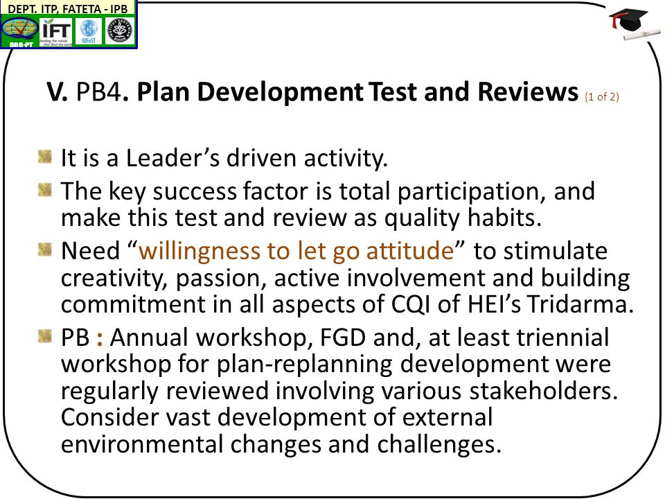 BAN-PT DEPT. ITP, FATETA - IPB V. PB4. Plan Development Test and Reviews (1 of 2) It is a Leader's driven activity. The key success factor is total pa