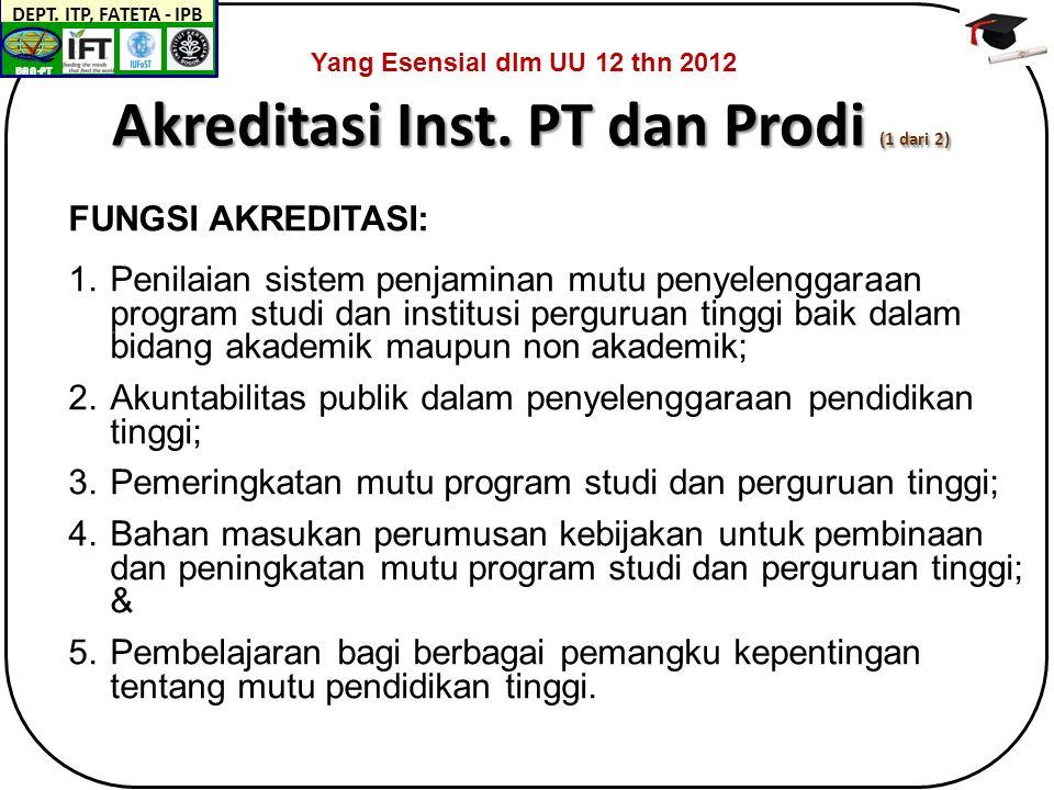 BAN-PT DEPT.ITP, FATETA - IPB Akreditasi Inst.