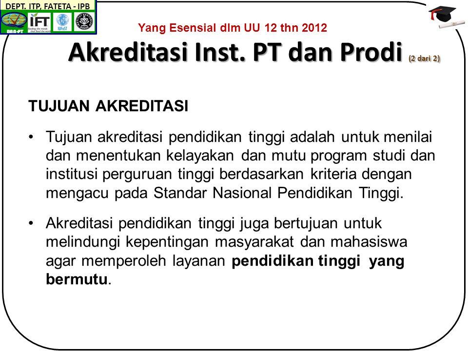 BAN-PT DEPT. ITP, FATETA - IPB Akreditasi Inst.