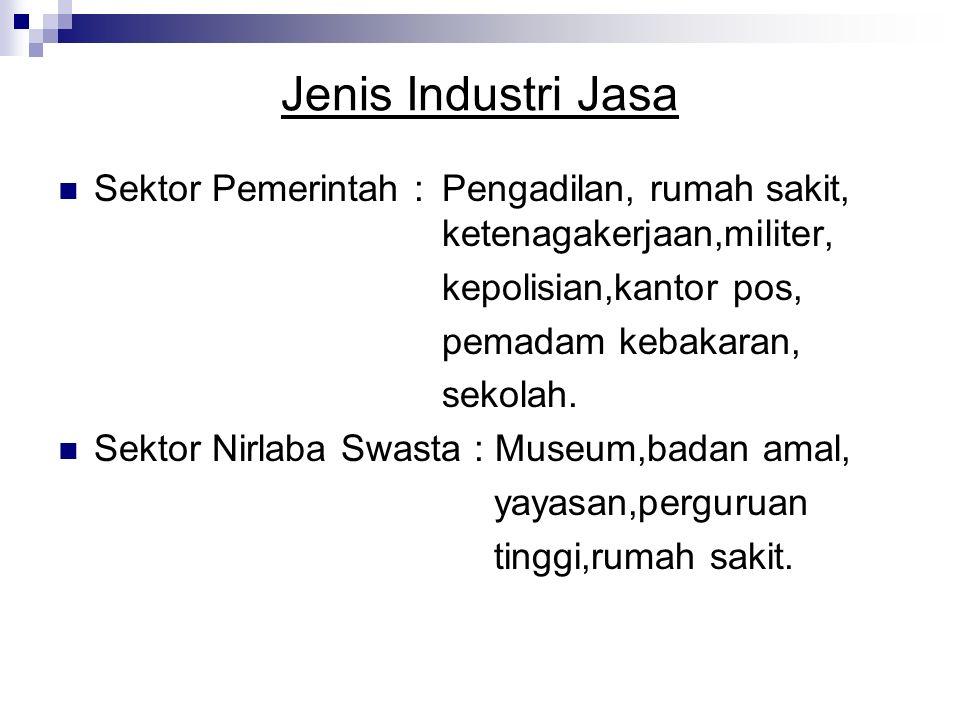 Jenis Industri Jasa Sektor Pemerintah : Pengadilan, rumah sakit, ketenagakerjaan,militer, kepolisian,kantor pos, pemadam kebakaran, sekolah.