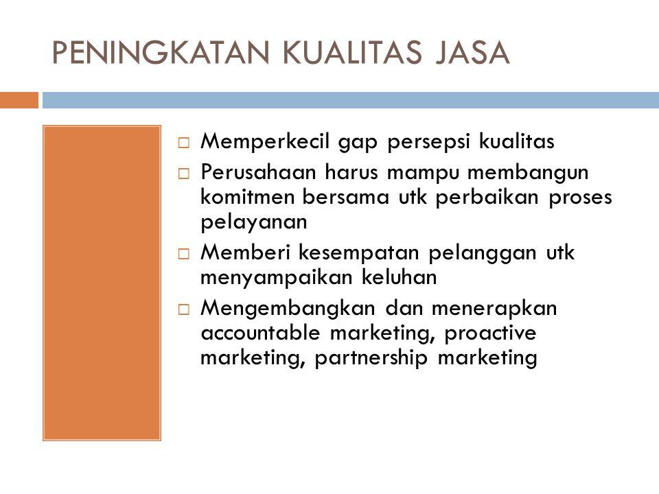 PENINGKATAN KUALITAS JASA  Memperkecil gap persepsi kualitas  Perusahaan harus mampu membangun komitmen bersama utk perbaikan proses pelayanan  Memberi kesempatan pelanggan utk menyampaikan keluhan  Mengembangkan dan menerapkan accountable marketing, proactive marketing, partnership marketing
