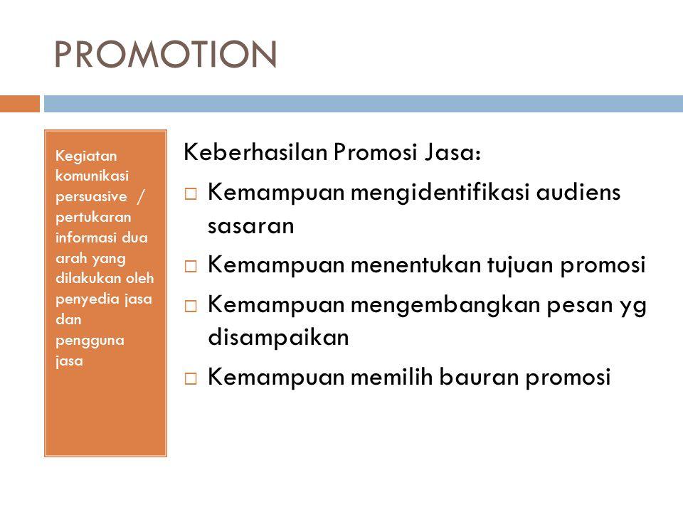 PROMOTION Kegiatan komunikasi persuasive / pertukaran informasi dua arah yang dilakukan oleh penyedia jasa dan pengguna jasa Keberhasilan Promosi Jasa