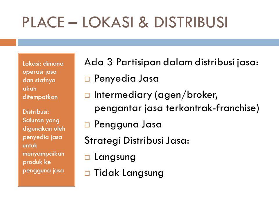 PLACE – LOKASI & DISTRIBUSI Lokasi: dimana operasi jasa dan stafnya akan ditempatkan Distribusi: Saluran yang digunakan oleh penyedia jasa untuk menya
