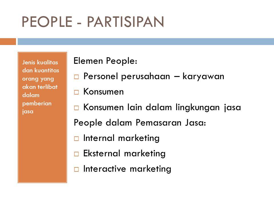 PEOPLE - PARTISIPAN Jenis kualitas dan kuantitas orang yang akan terlibat dalam pemberian jasa Elemen People:  Personel perusahaan – karyawan  Konsu
