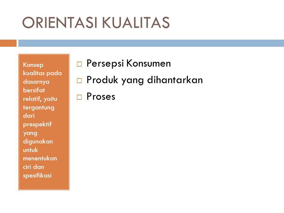 DIMENSI KUALITAS PRODUK Dimensi kualitas produk yang lebih bersifat tangible secara umum terdiri atas 8 dimensi  Performance - Kinerja Aspek fungsional barang & menjadi karakteristik utama yg dipertimbangkan pelanggan dalam membeli  Features – Keragaman Produk Aspek performansi yg berguna untuk menambah fungsi dasar, berkaitan dgn pilihan produk