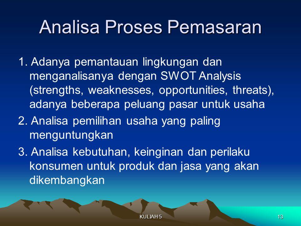 Analisa Proses Pemasaran 1. Adanya pemantauan lingkungan dan menganalisanya dengan SWOT Analysis (strengths, weaknesses, opportunities, threats), adan