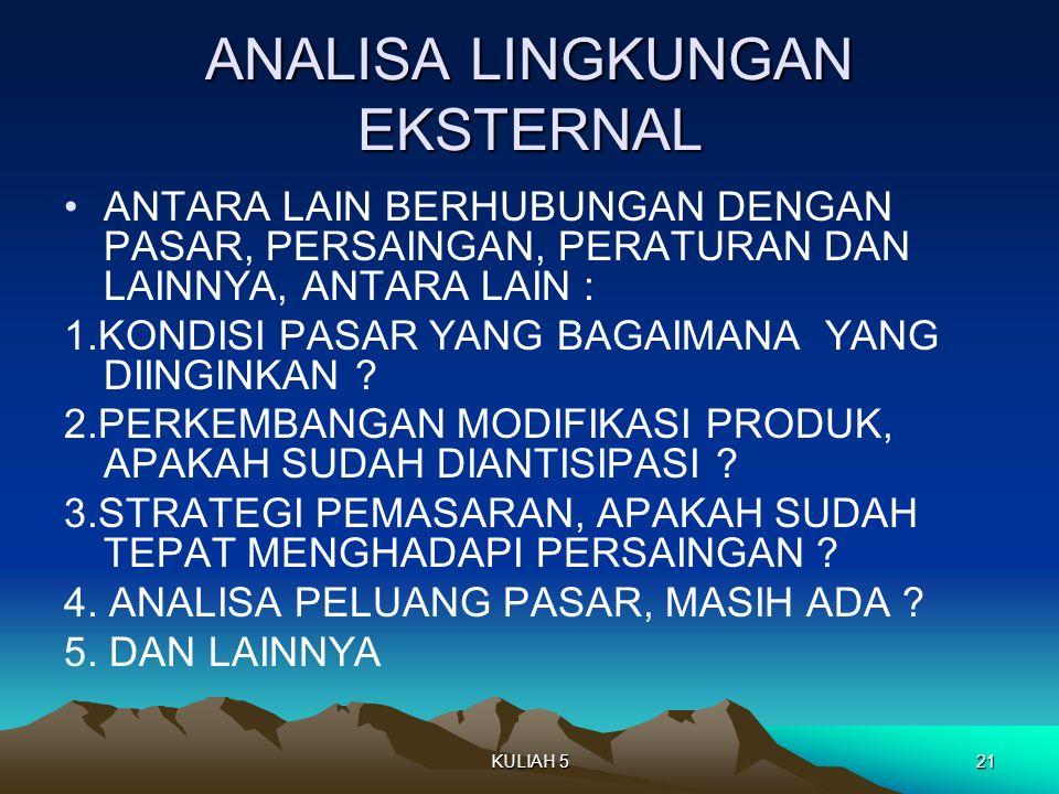 ANALISA LINGKUNGAN EKSTERNAL ANTARA LAIN BERHUBUNGAN DENGAN PASAR, PERSAINGAN, PERATURAN DAN LAINNYA, ANTARA LAIN : 1.KONDISI PASAR YANG BAGAIMANA YANG DIINGINKAN .
