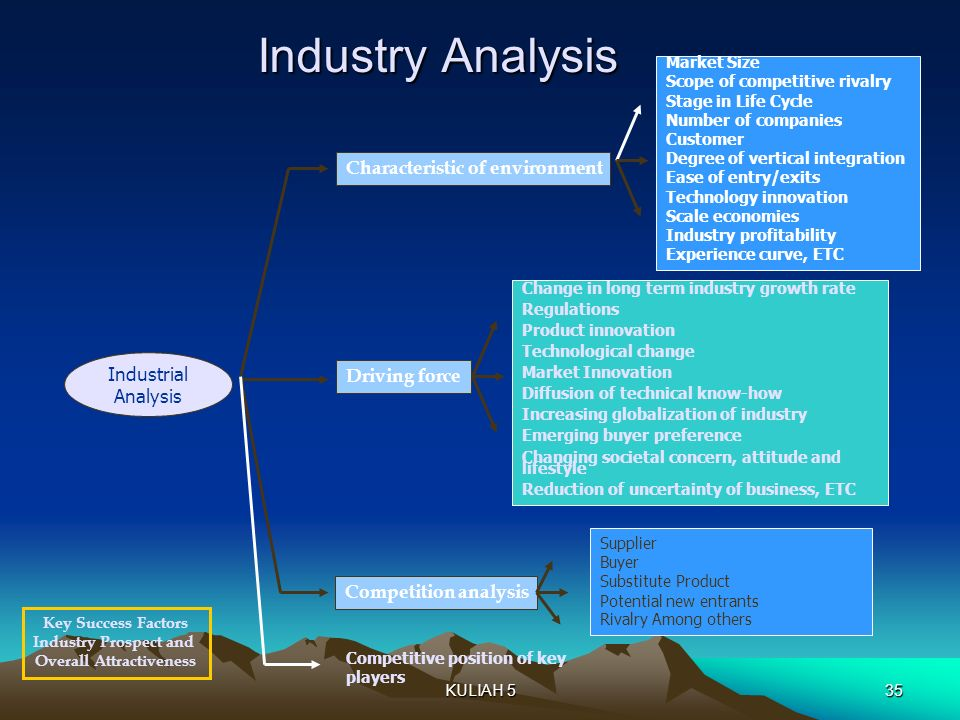 Industry Analysis Industrial Analysis Characteristic of environment Market Size Scope of competitive rivalry Stage in Life Cycle Number of companies C