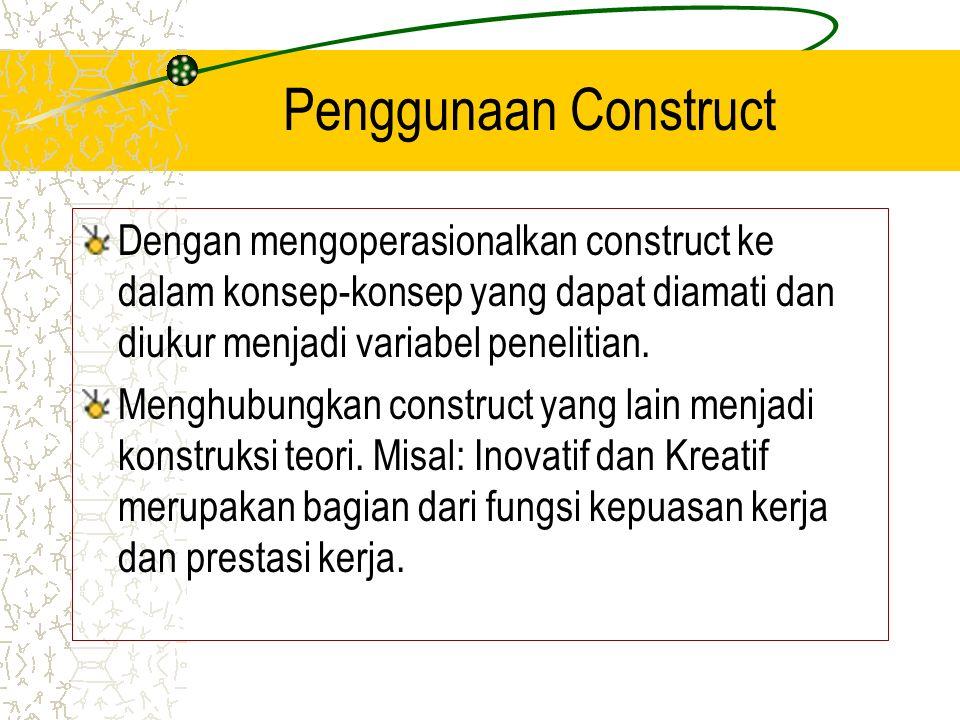 Penggunaan Construct Dengan mengoperasionalkan construct ke dalam konsep-konsep yang dapat diamati dan diukur menjadi variabel penelitian. Menghubungk