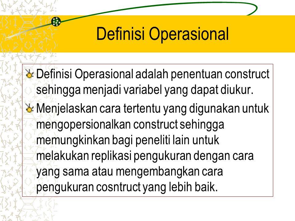 Definisi Operasional Definisi Operasional adalah penentuan construct sehingga menjadi variabel yang dapat diukur. Menjelaskan cara tertentu yang digun