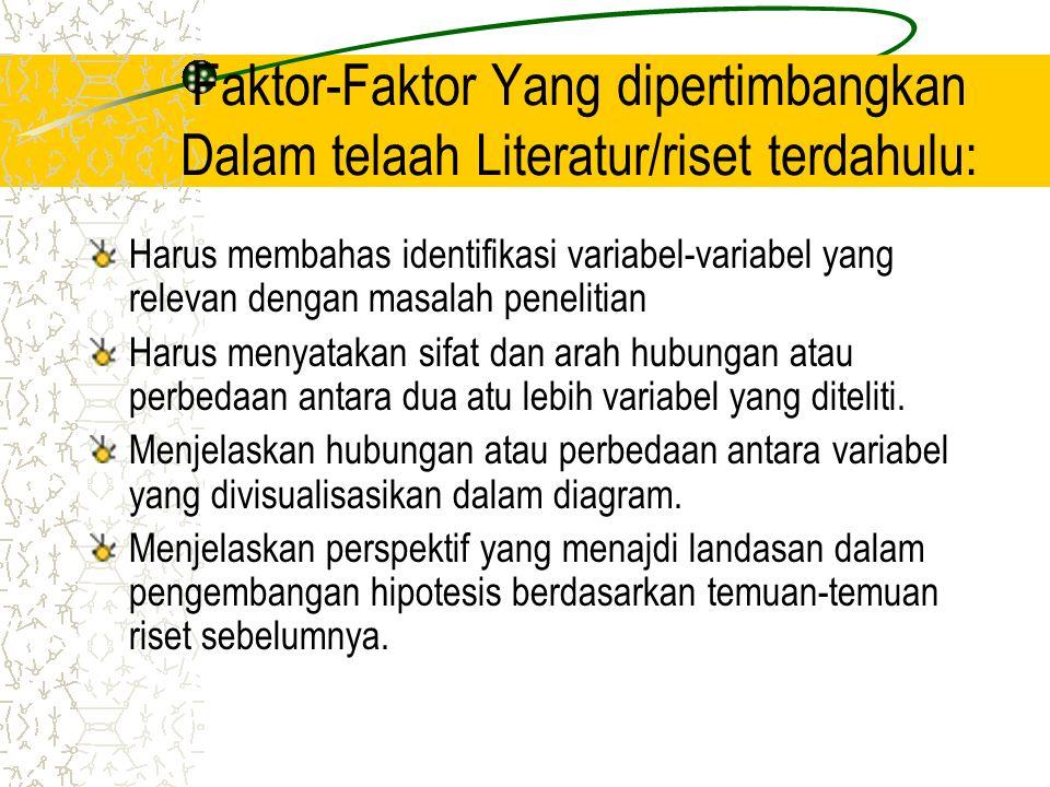Faktor-Faktor Yang dipertimbangkan Dalam telaah Literatur/riset terdahulu: Harus membahas identifikasi variabel-variabel yang relevan dengan masalah p
