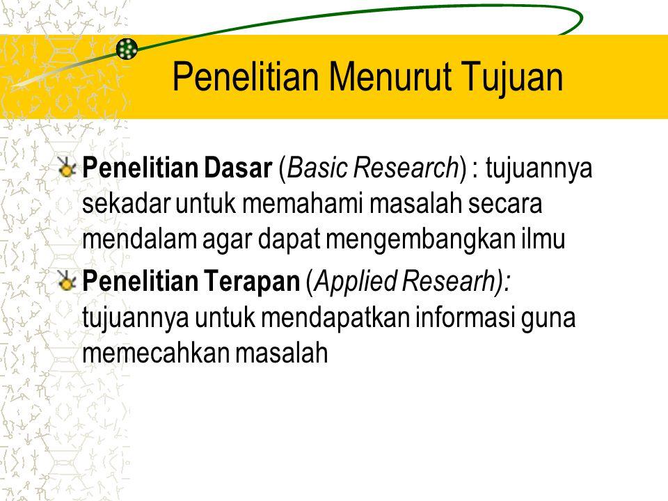 Penelitian Menurut Tujuan Penelitian Dasar ( Basic Research ) : tujuannya sekadar untuk memahami masalah secara mendalam agar dapat mengembangkan ilmu
