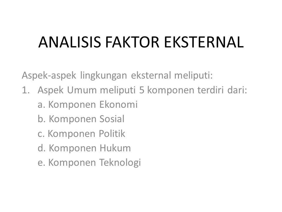 ANALISIS FAKTOR EKSTERNAL Aspek-aspek lingkungan eksternal meliputi: 1.Aspek Umum meliputi 5 komponen terdiri dari: a.