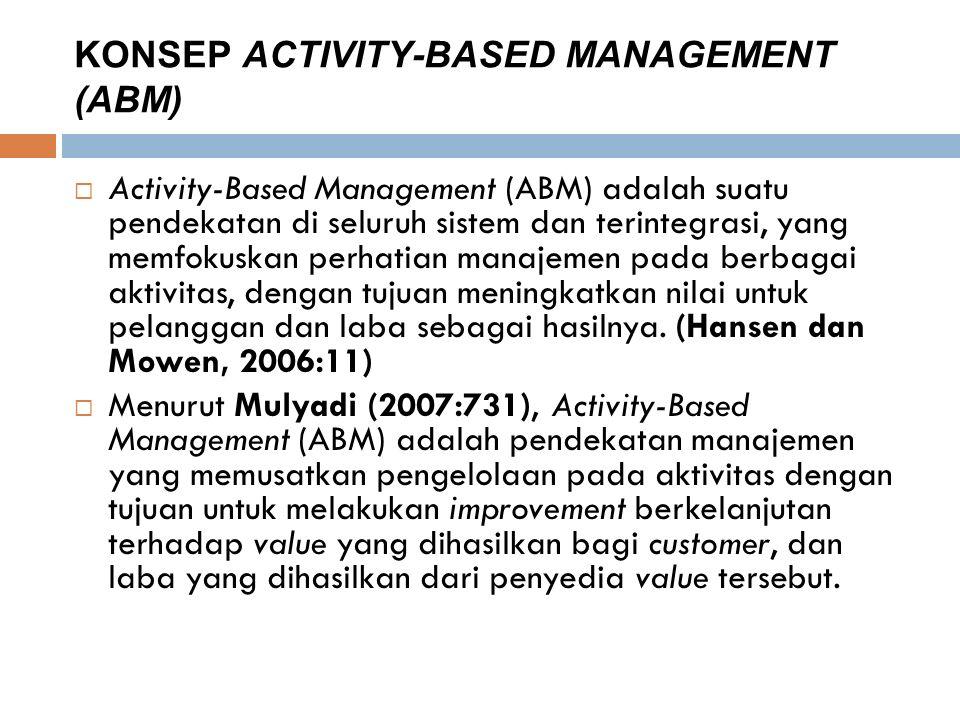 KONSEP ACTIVITY-BASED MANAGEMENT (ABM)  Activity-Based Management (ABM) adalah suatu pendekatan di seluruh sistem dan terintegrasi, yang memfokuskan perhatian manajemen pada berbagai aktivitas, dengan tujuan meningkatkan nilai untuk pelanggan dan laba sebagai hasilnya.